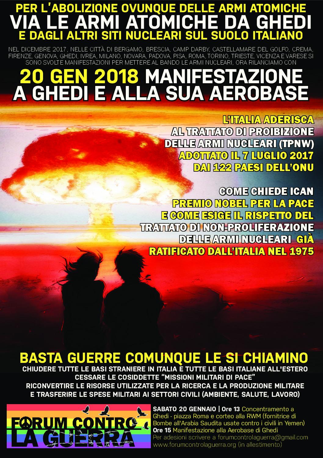 SABATO 20 GENNAIO: IL PCI A GHEDI, CONTRO LE BOMBE NUCLEARI !
