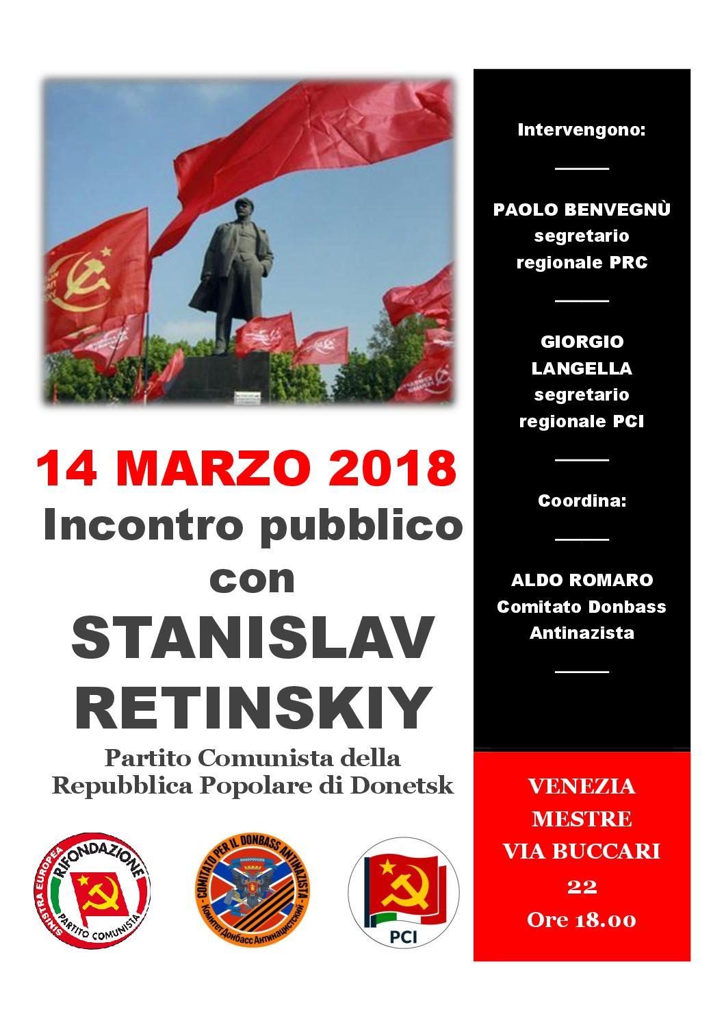 14 Marzo a Venezia incontro con Stanislav Retinskiy per il Donbass antinazista